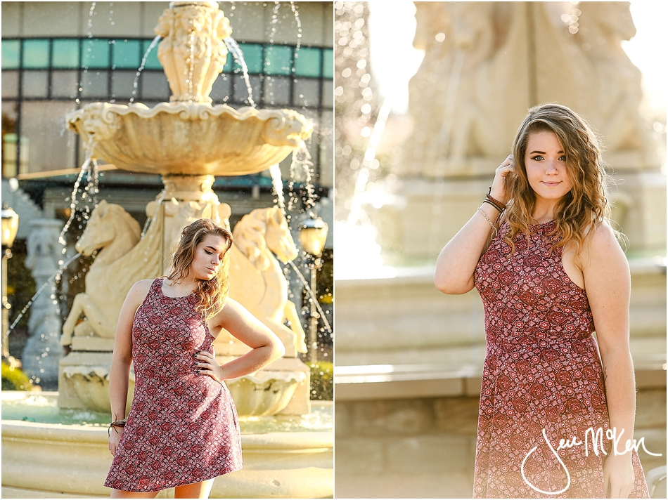 senior pictures by fountain