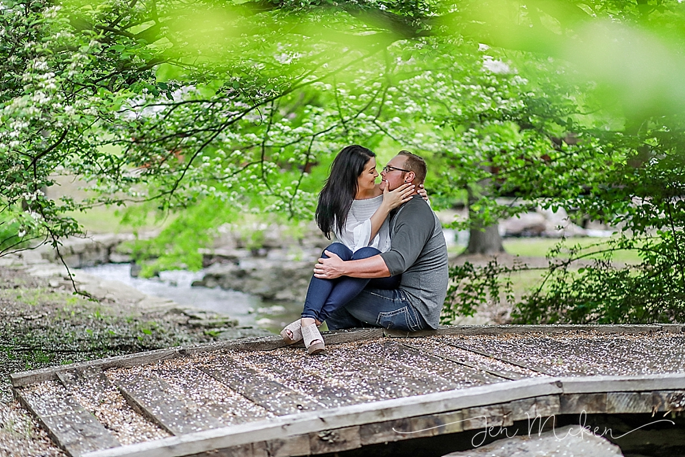 kissing under a tree on a bridge in blairsville pa