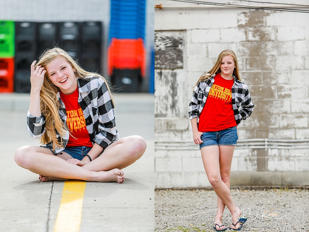 teen wearing red seton hill basketball shirt and black and white plaid shirt