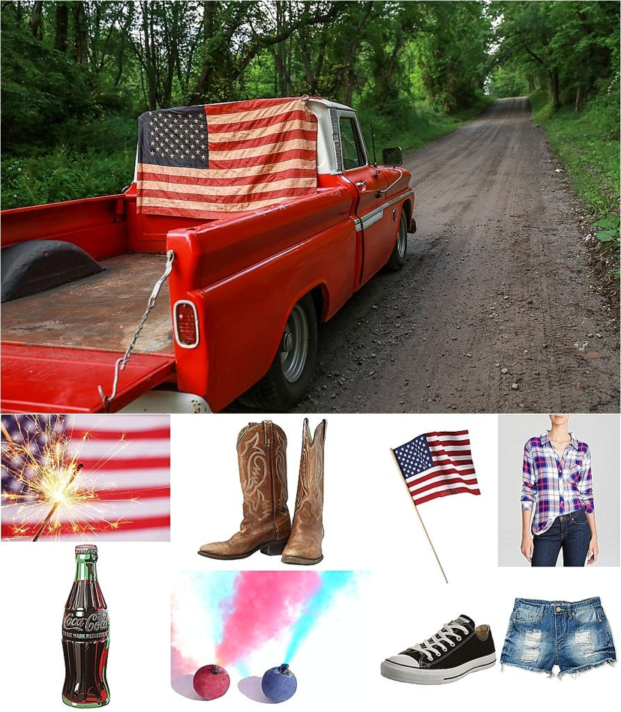 All American Fourth of July Holiday Photo Shoot on a dirt road in the country of Indiana County pa in a red 1968 chevy pick up truck