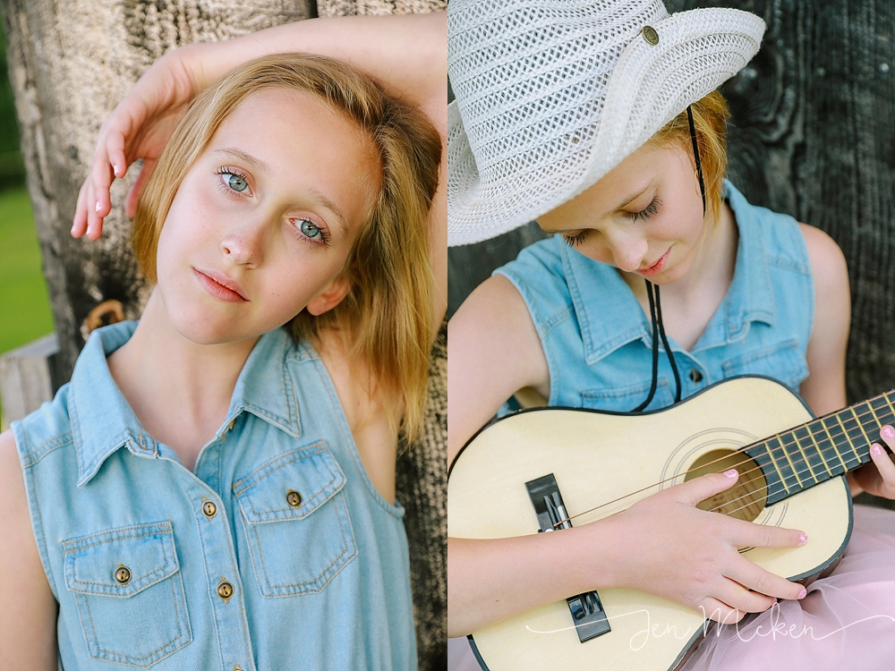 tween model in denim shirt and white cow girl hat playing the guitar
