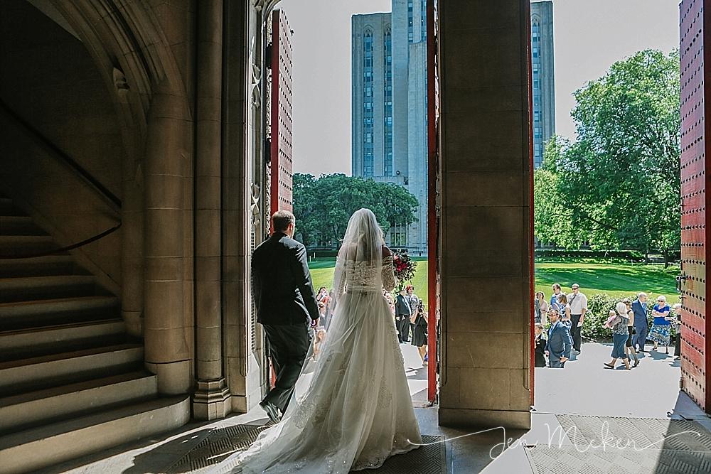 pittsburgh heinz chapel wedding ceremony exit of bride and groom
