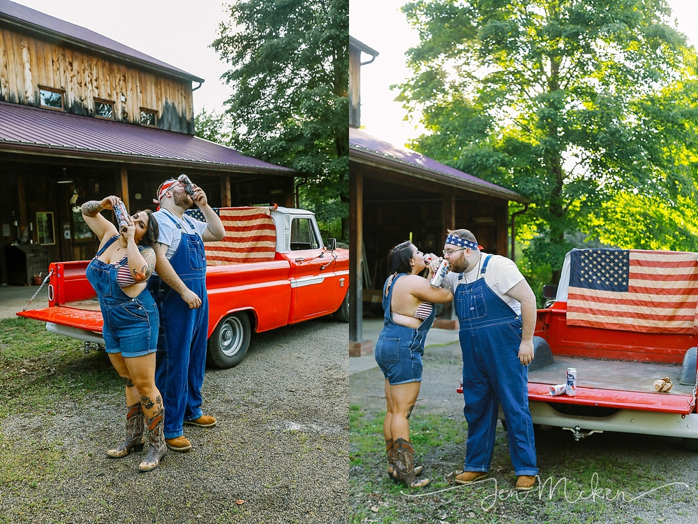 engaged couple shotgun PBR beer in front of a 1965 red chevy pickup truck in the country