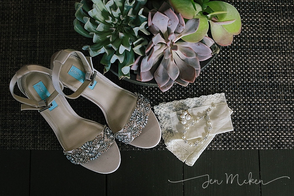wedding shoes and jewlery by succulant plant