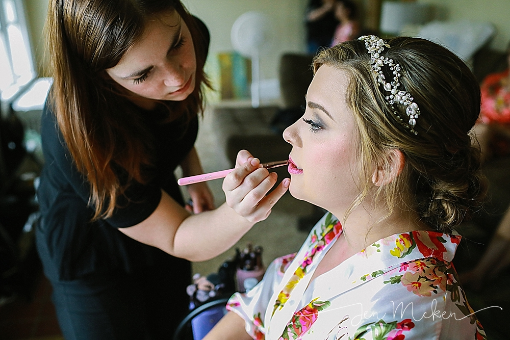 indiana county pa bride has her hair namd makeup done for her wedding day