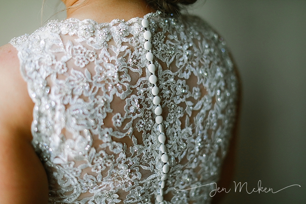 lace details on the back of a wedding dress