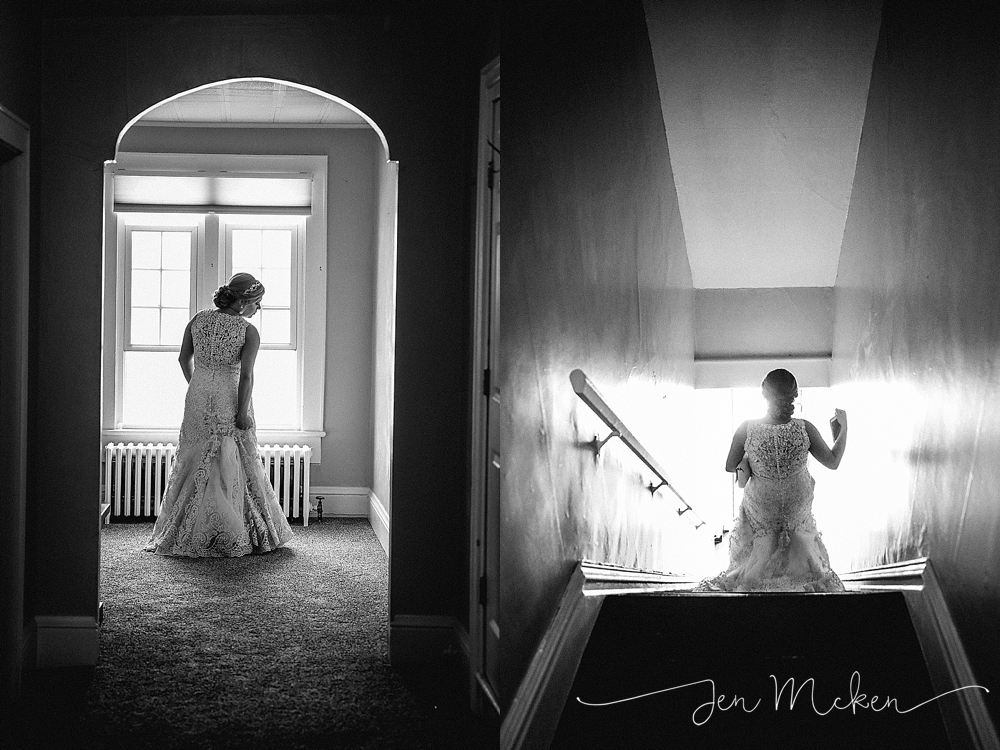 dramatic black and white portrait of the bride