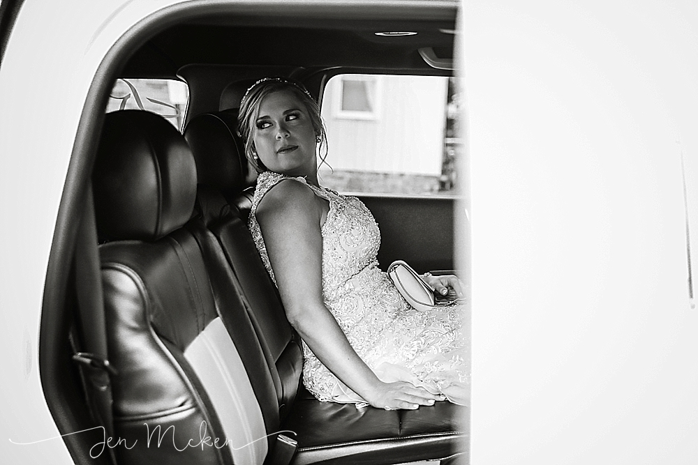 the bride waits in a limo in down town indiana pa