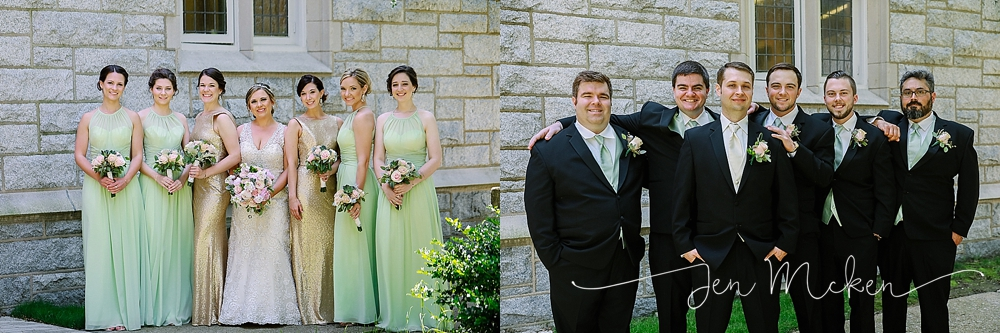 formal bridesmaids and groomsman photos outside of the church in indiana pa