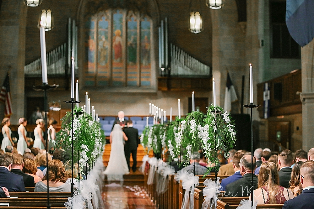 aisle flowers for the wedding ceremony at Graystone Presbyterian Church on church street in indiana pa