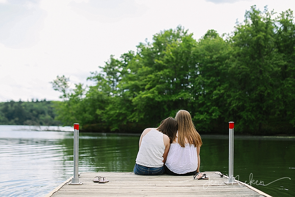 best friends sitting on the dock at yellow creek state park in indiana county pa