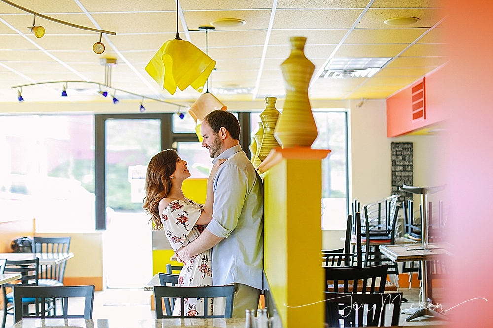 Romeo's Pizzeria & Mediterranean Kitchen engagement session where they first met