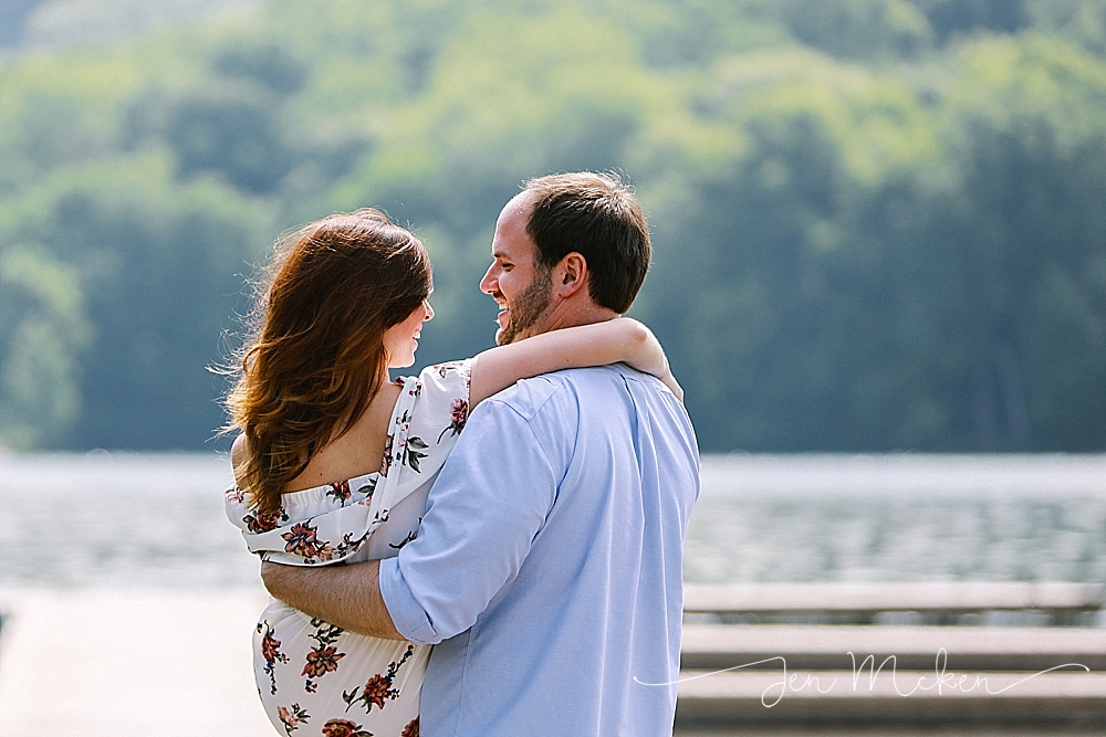 engaement photos on the docks at twolick lake in indiana pa on a sunny day