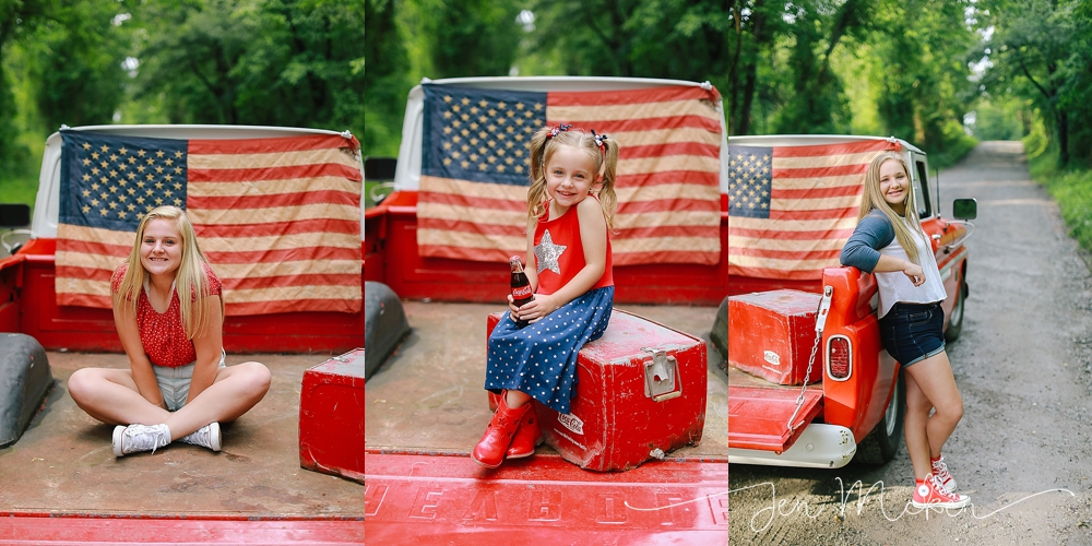 sisters pose on the back of a red 1968 chevy pickup truck for fourth of july mini sessions by jen mcken photography