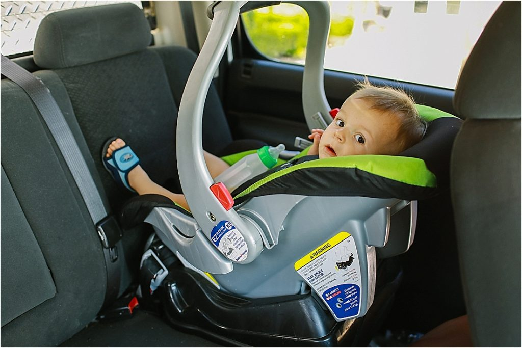 baby sitting in carseat
