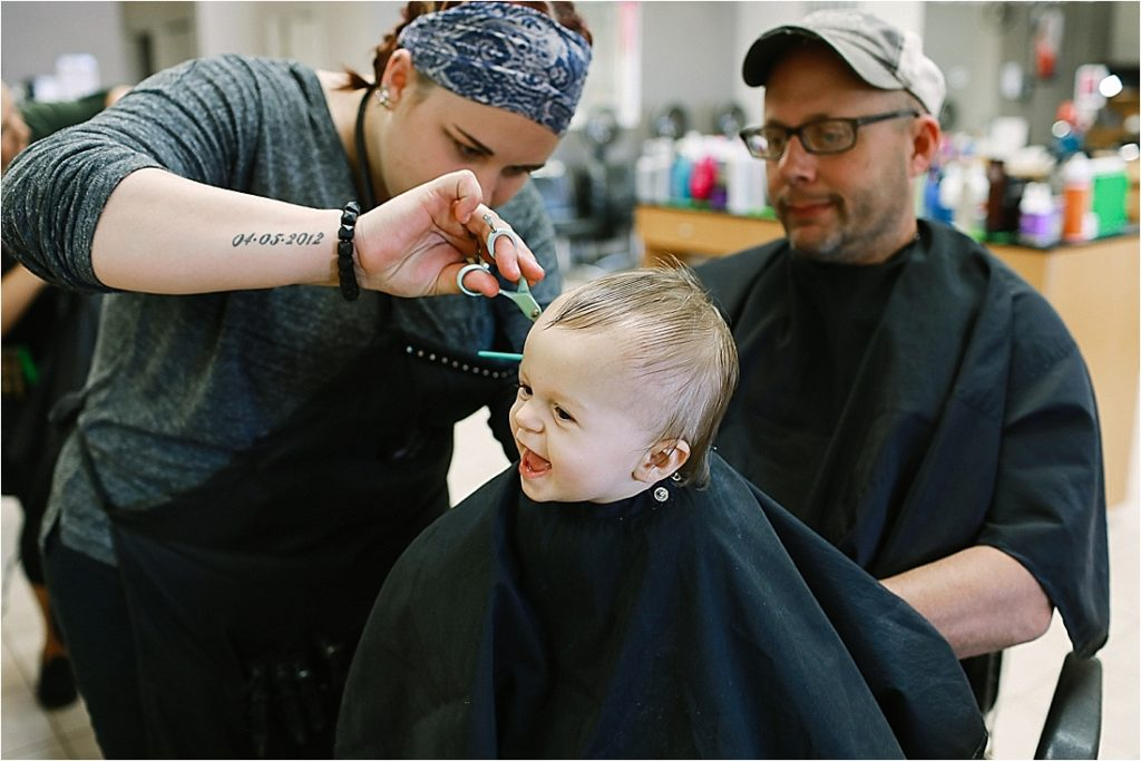 11 monht old levi gets his first hair cut