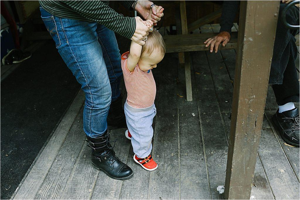 great grandma helps Levi learn to walk