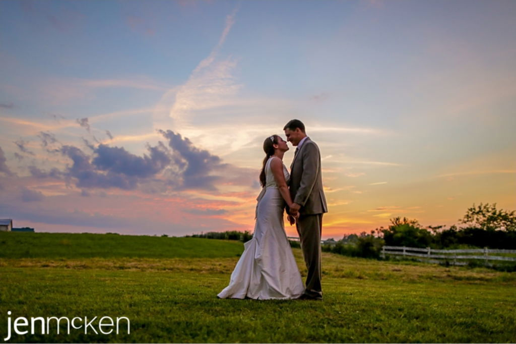 bride and groom portrait with a sunset a five fillies farm