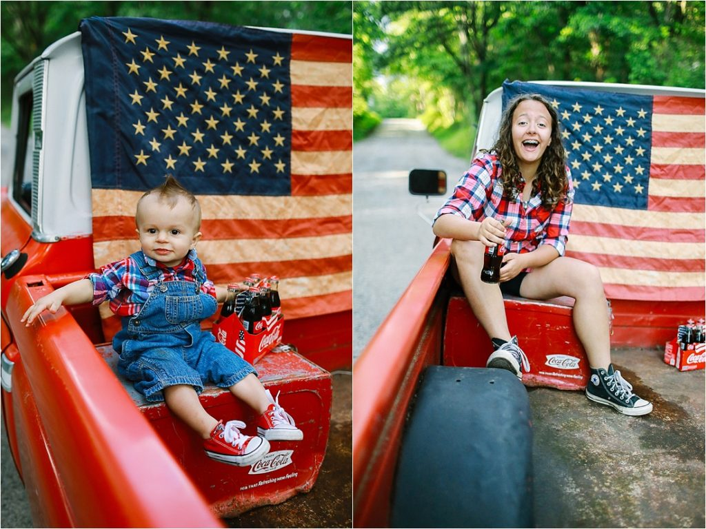 brother and sister in the back of a chevy pickup truck in a small town in blairsville pa