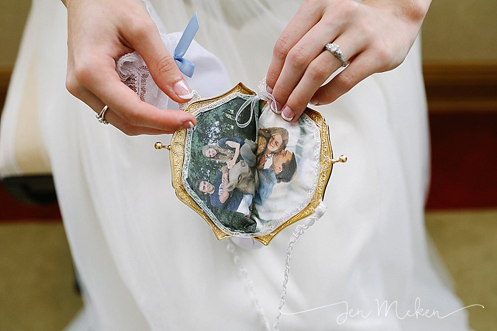 a gift the bride was given homemade change purse with images on the inside