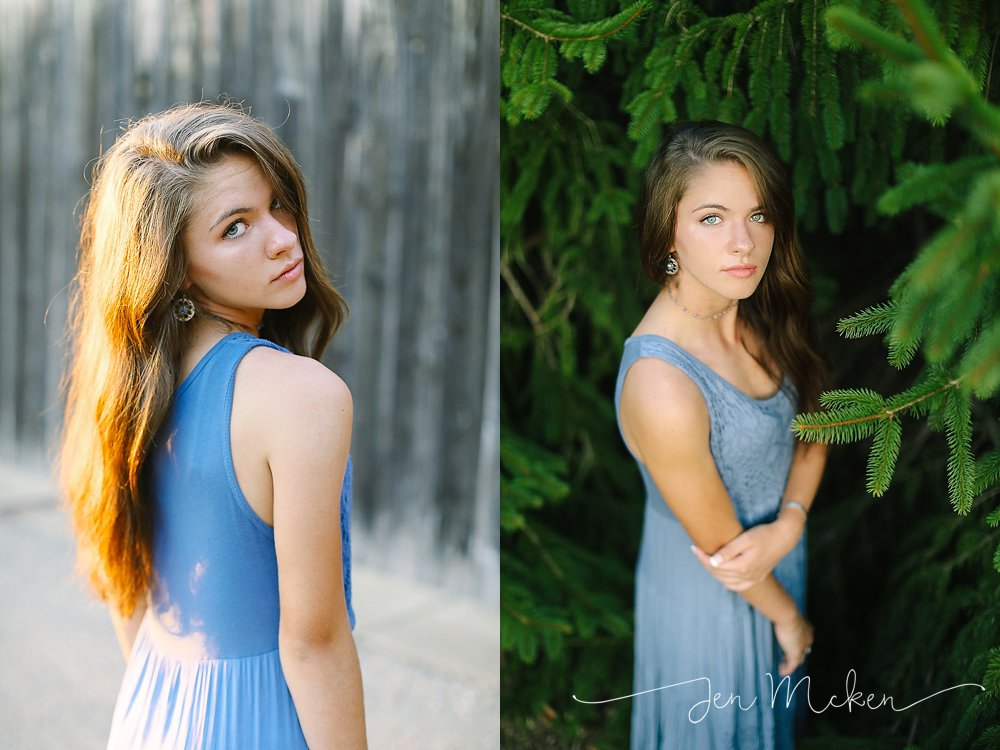 high school senior pictures in purple dress in front of a barn in blairsville pa