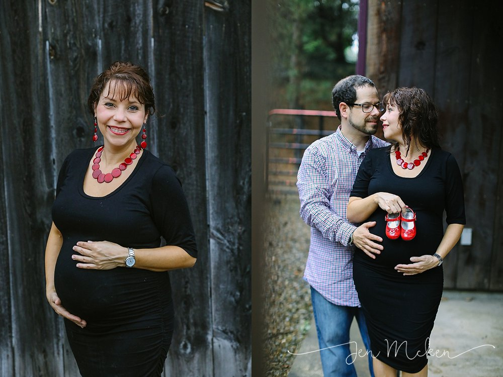 ruby red slippers for maternity session during the rain