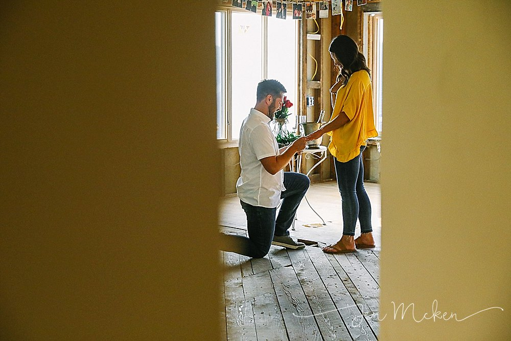 he proposed on one knee in the home they just purchased and renovated together