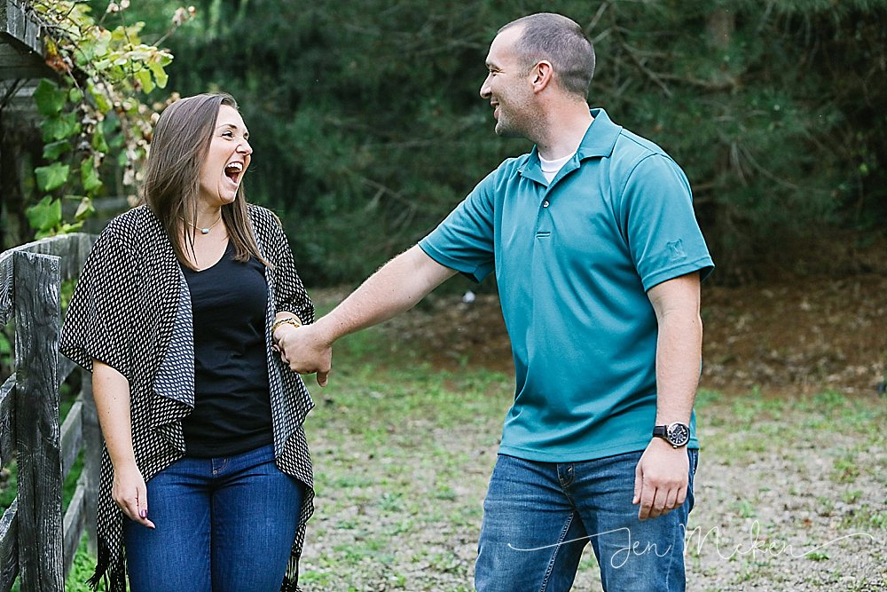 fiance laughing during engagement session indiana county pa
