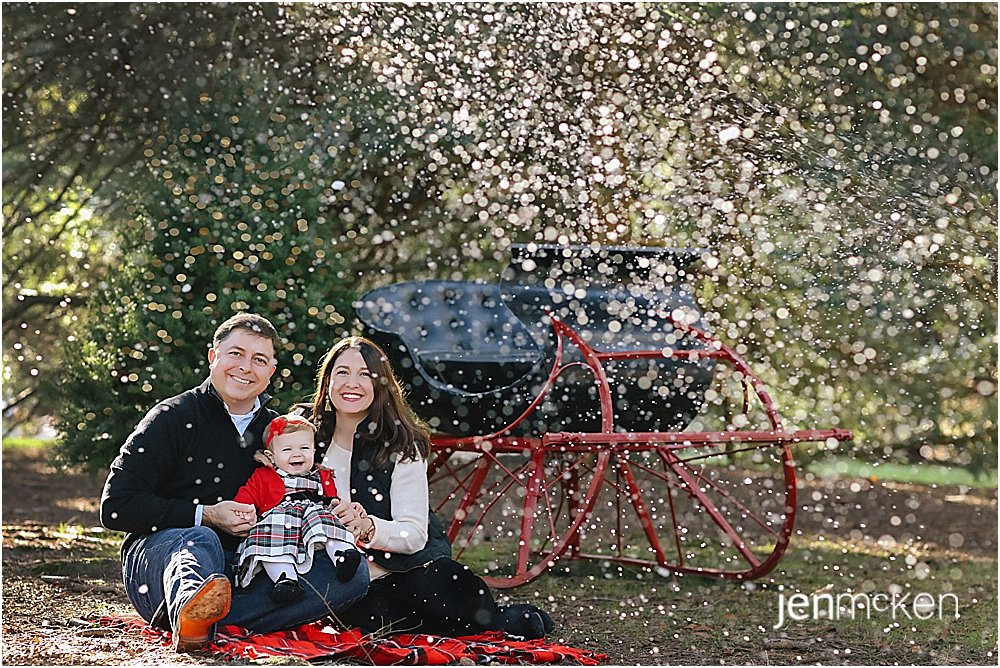 snowing for family photos in  front of the holiday sleigh in indiana