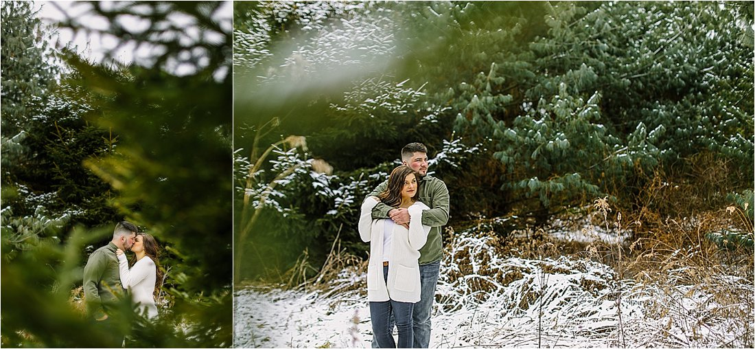 engaged couple embracing under pine trees in the snow