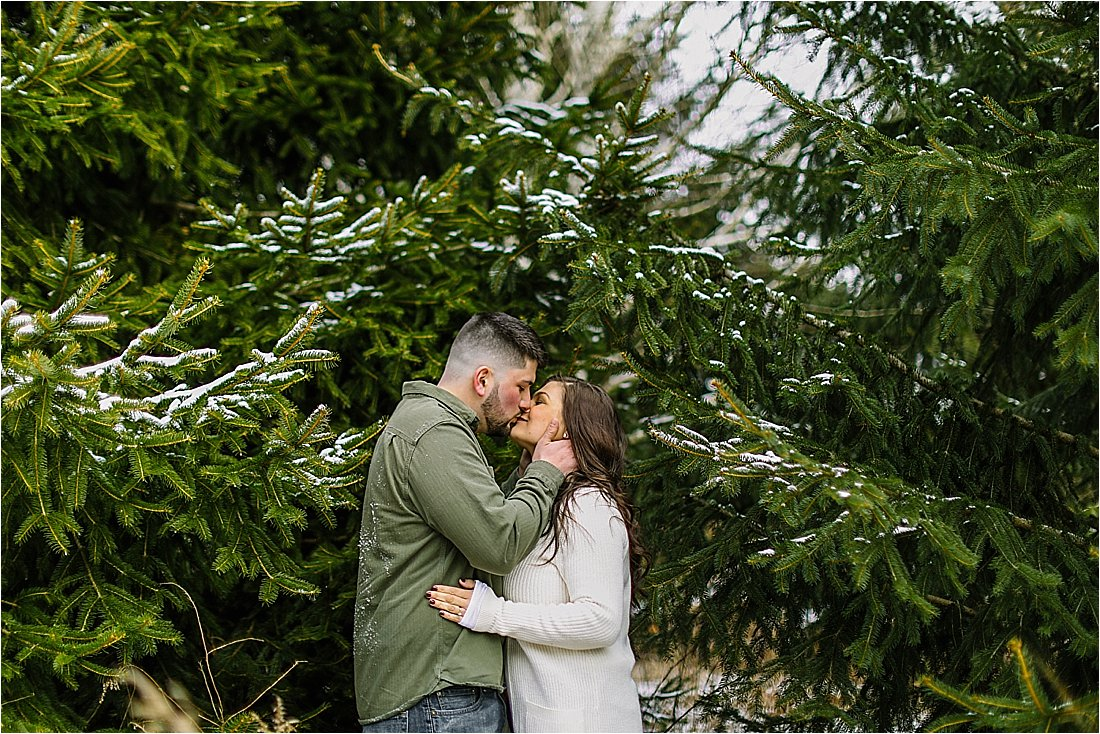 engaged couple kissing under pine trees in the snow