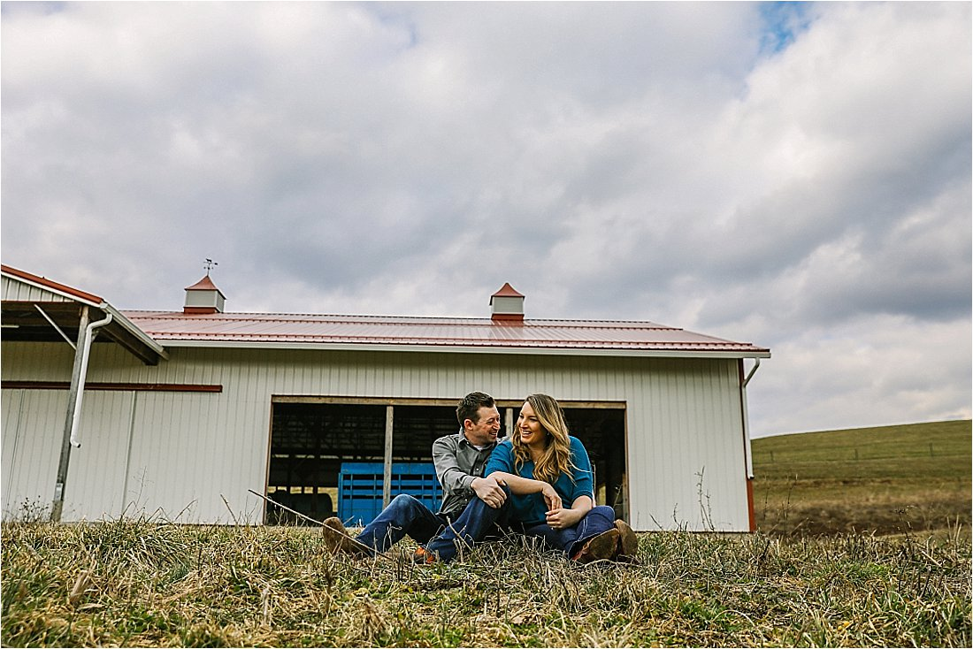 engagement photos on a farm
