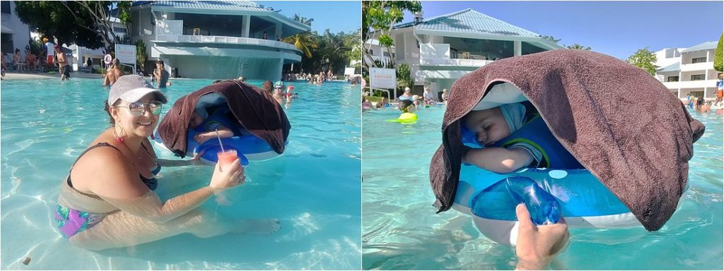 toddler in a pool floaty