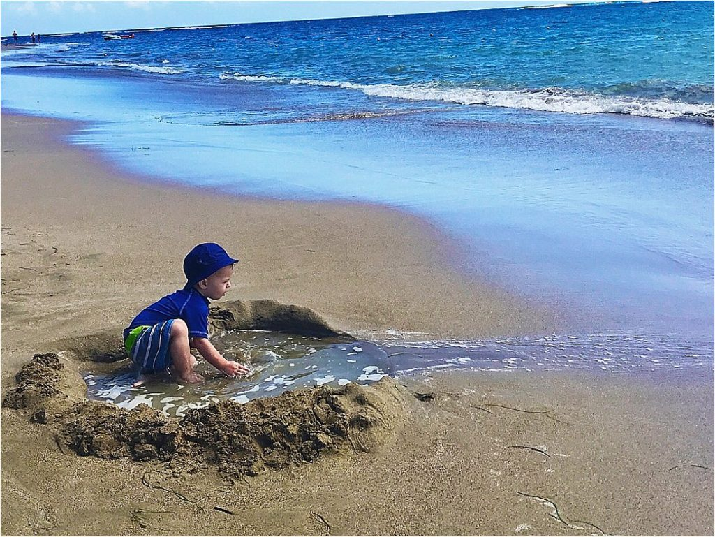 toddler swimming hole at the beach