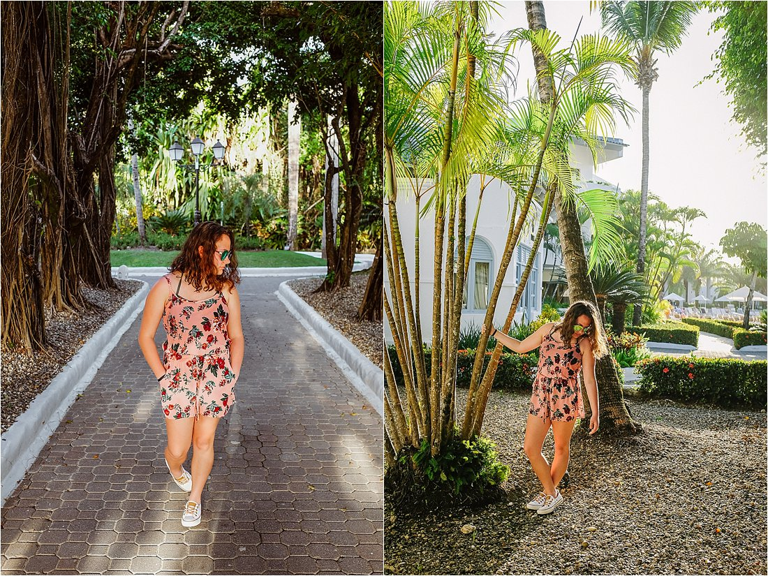 teen wearing a romper at near a palm tree in the carribean