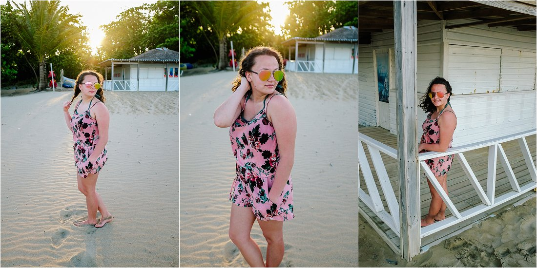 teen portraits at the beach wearing a pink romper in the sand