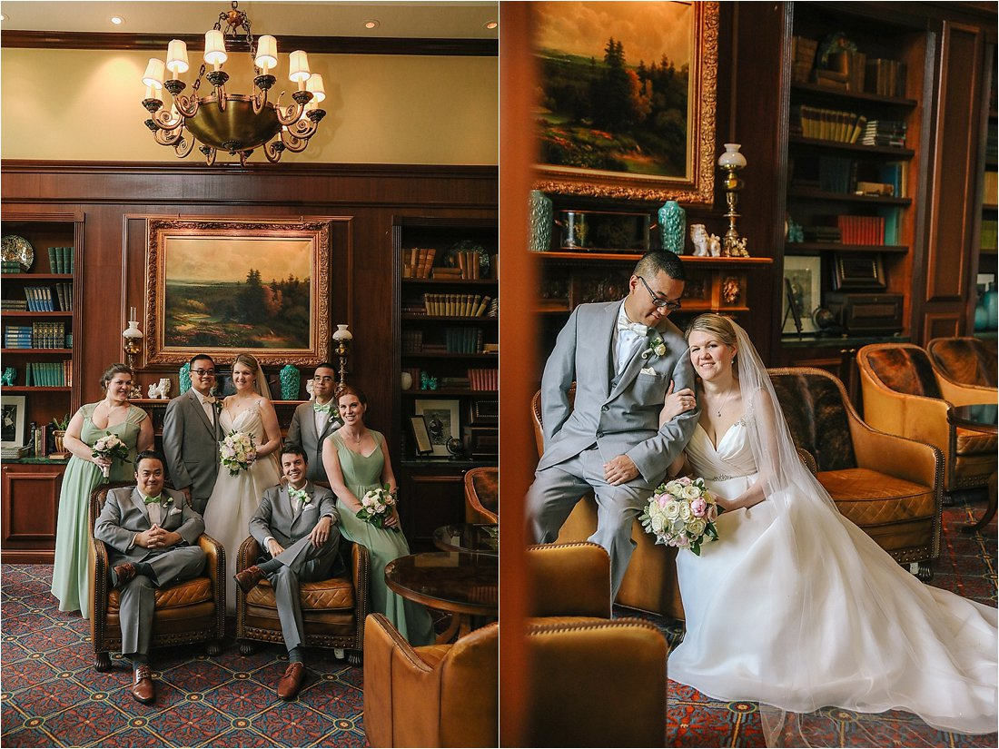 nemacolin wedding photos in the cigar bar with dramatic lighting