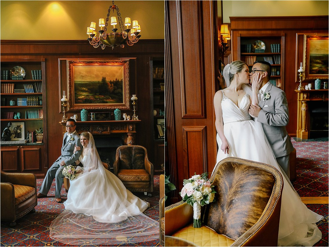 nemacolin wedding bride and groom in front of fire place in the cigar bar