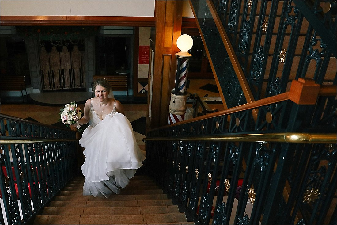 nemacolin wedding bride walking up the stairs
