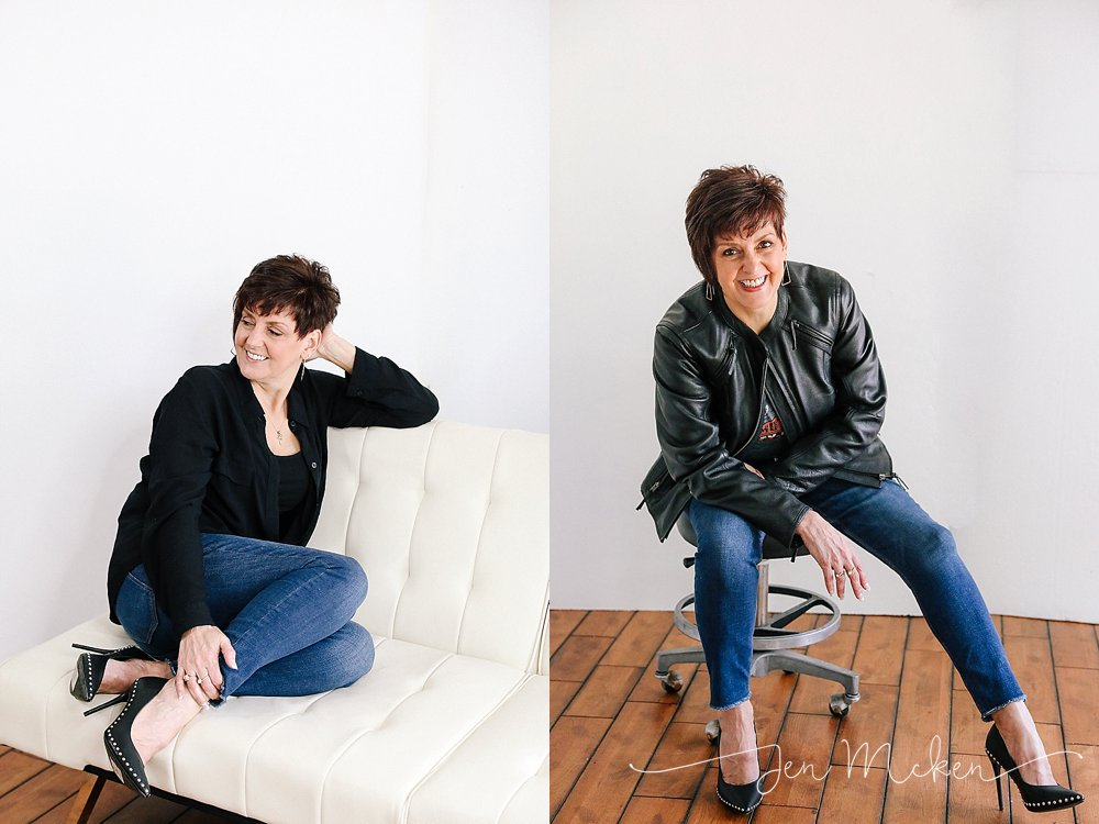 studio photographs of a women over 50 in a leather jacket