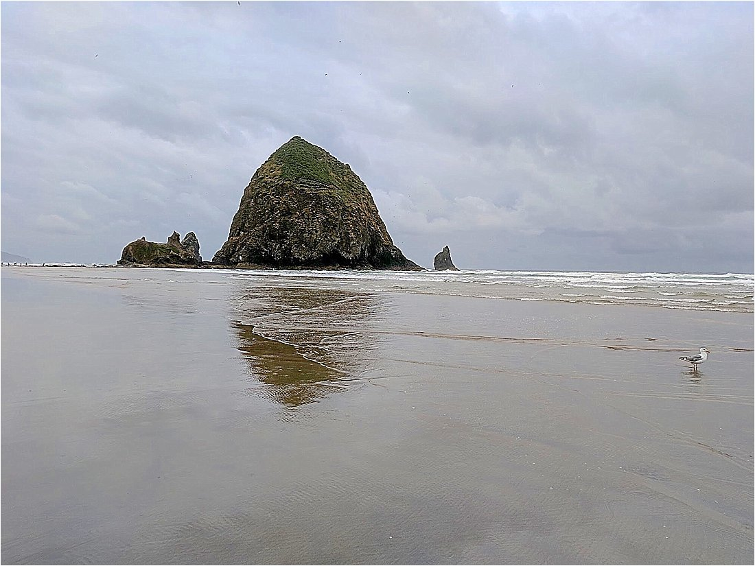 canon beach Oregon on a cloudy day