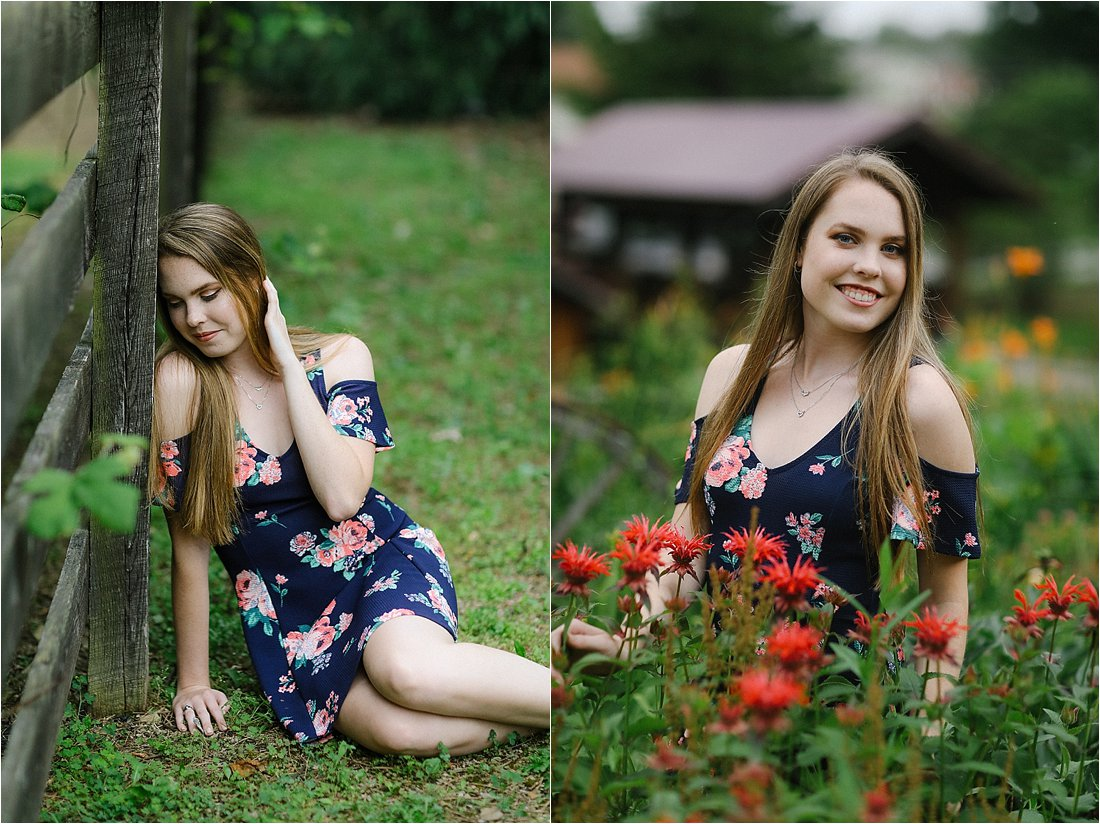 charleroi high school senior in a floral dress