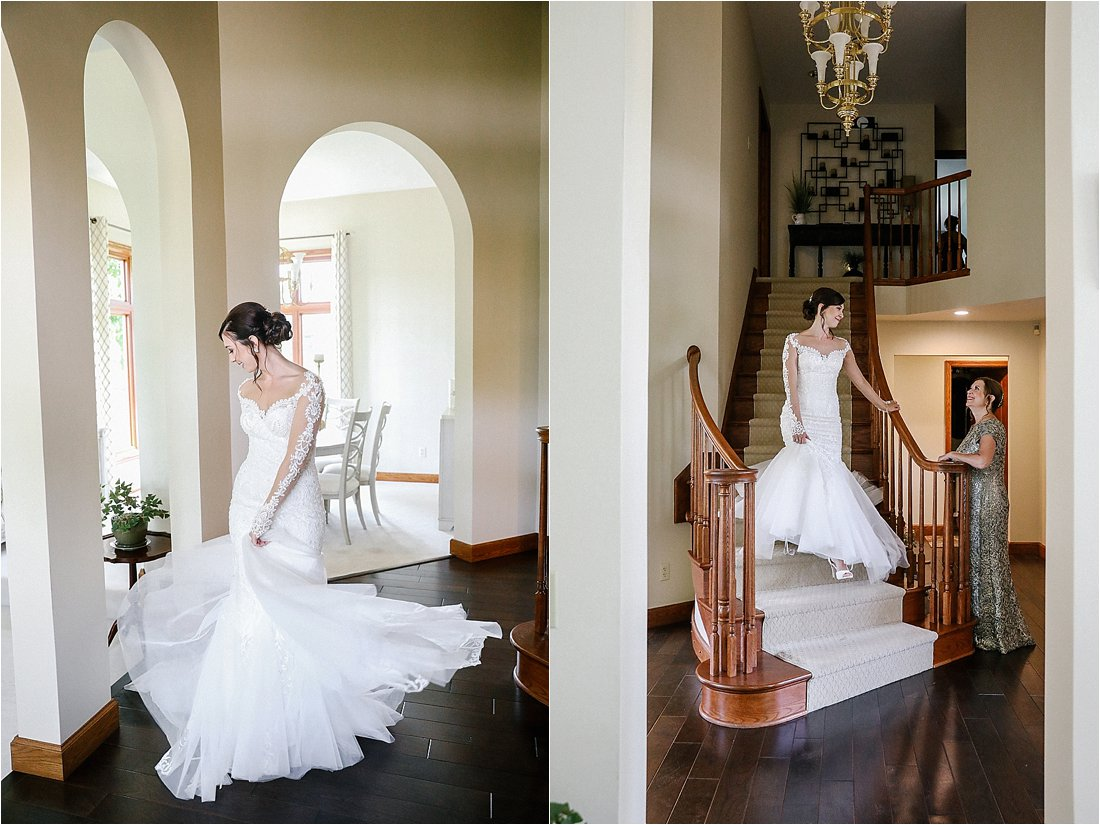 bride walking down the steps and bride twirling her dress