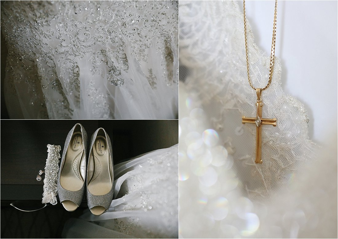 wedding details rings, flowers, shoes