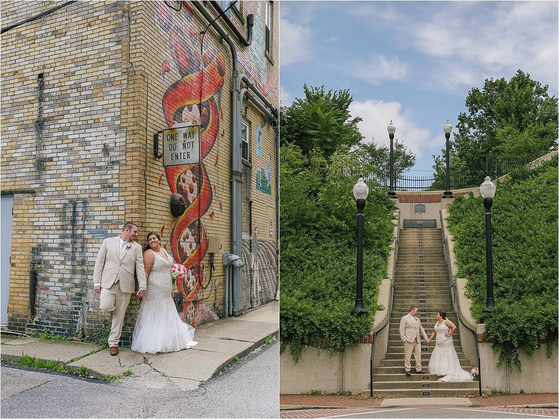bride and groom have their first look in front of a mural in indiana pa