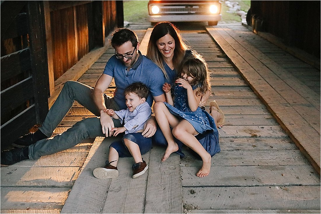 family photos with vintage red truck