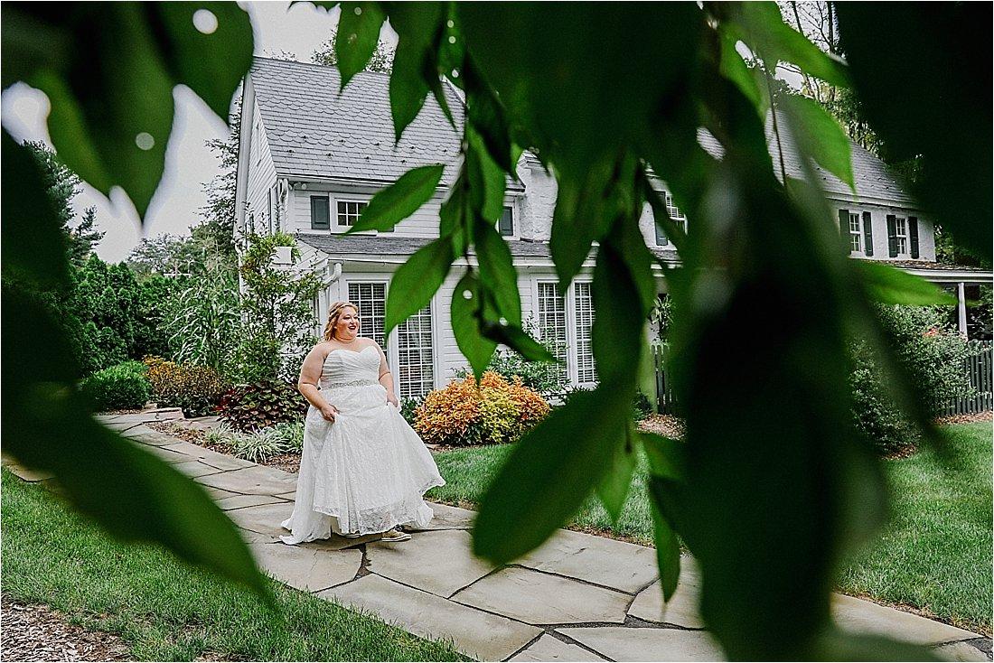 bride walking down the sidewalk