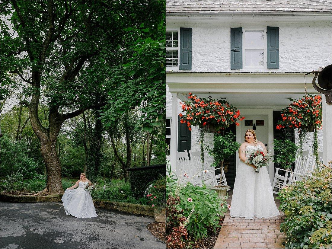 bride holding her bouqet at bear mill estates wedding venue
