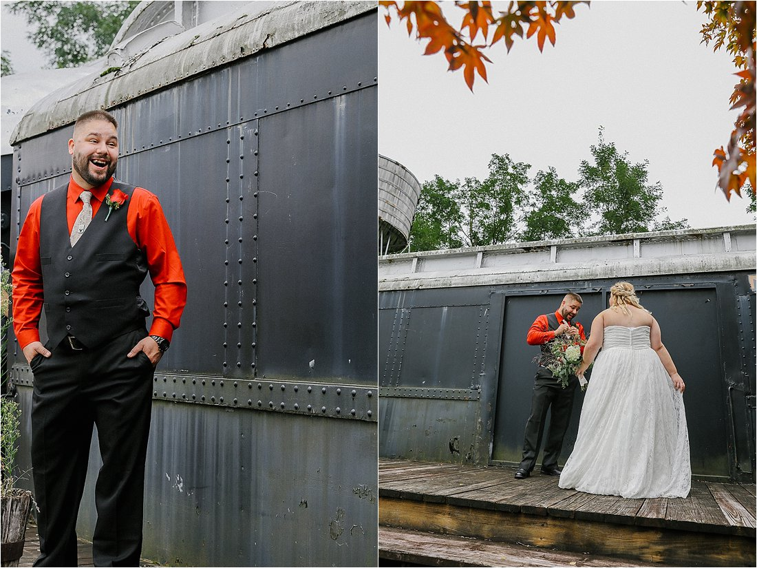 first look with the bride near a train car