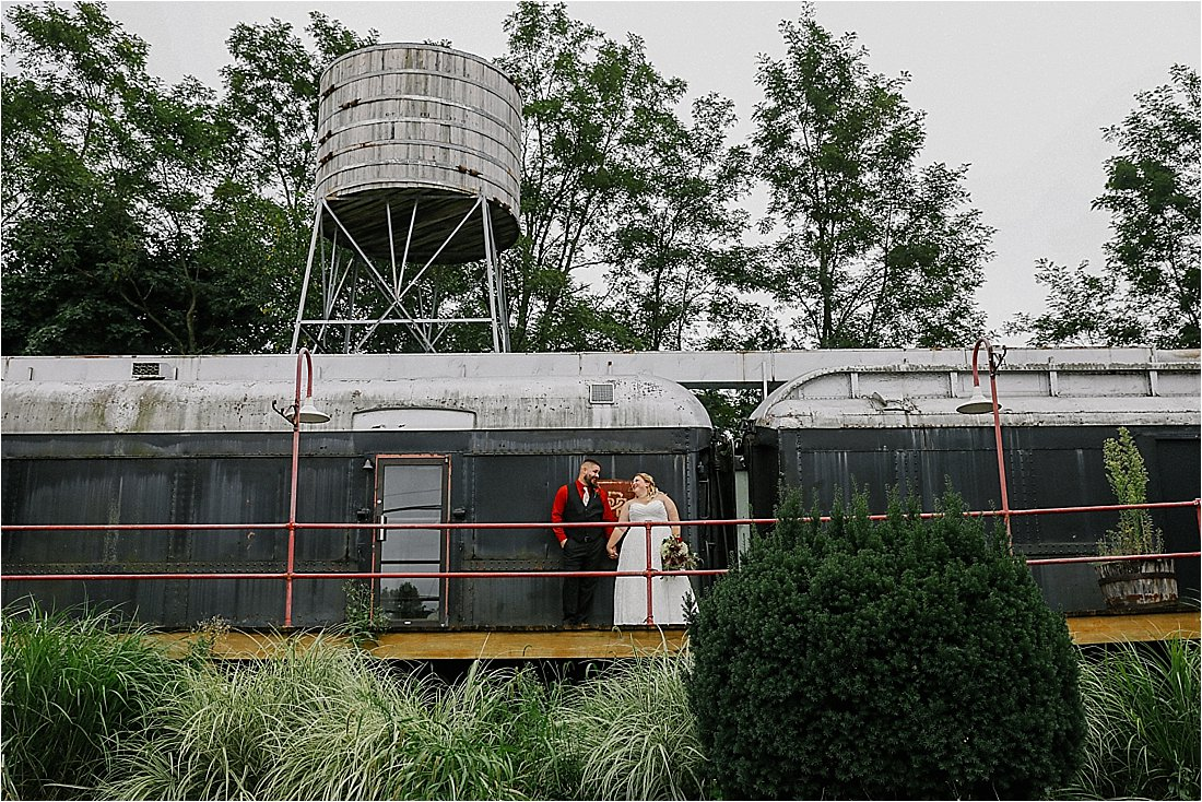 bride and groom on a train